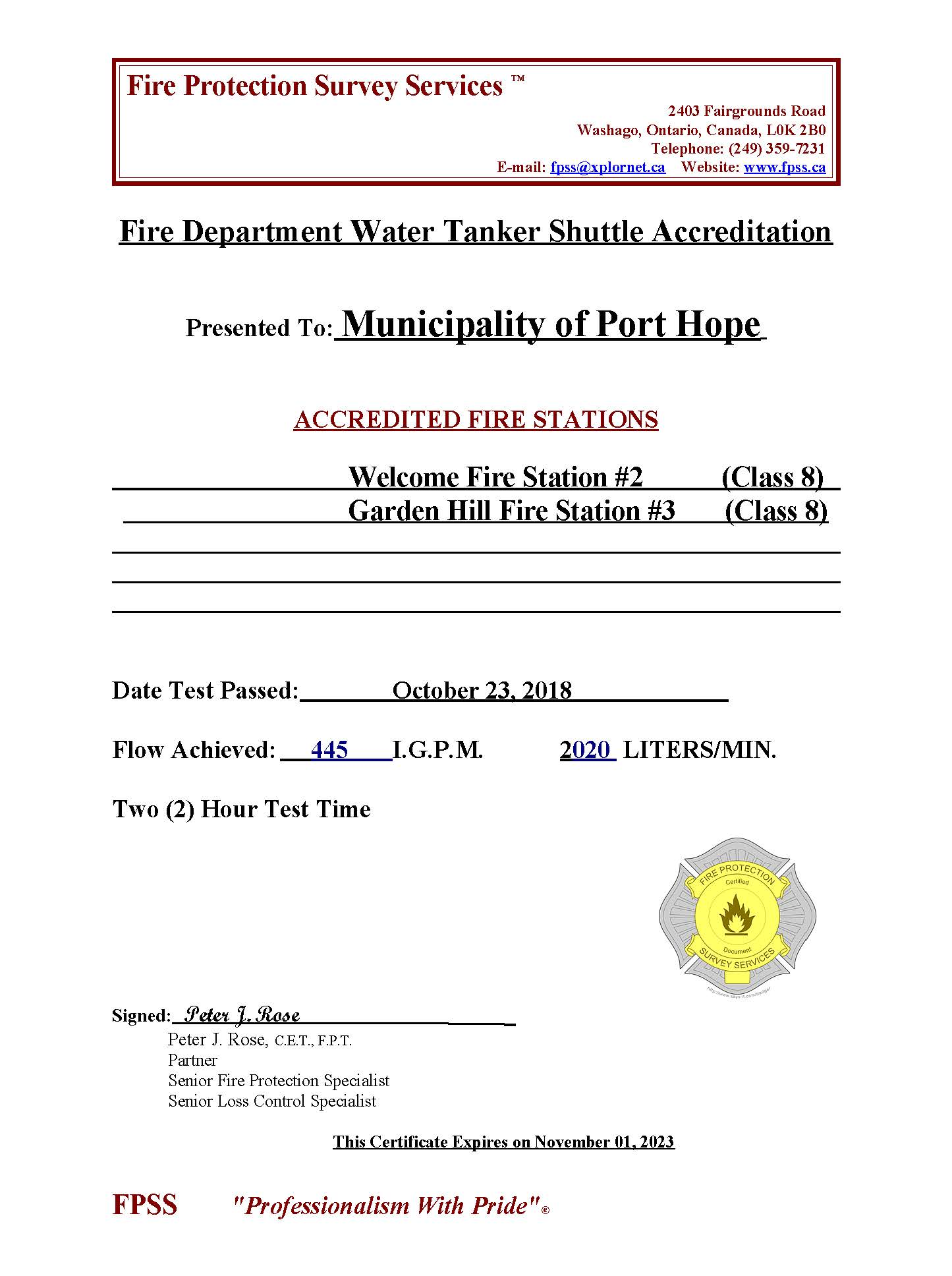Water Tanker Shuttle Accreditation Certificate