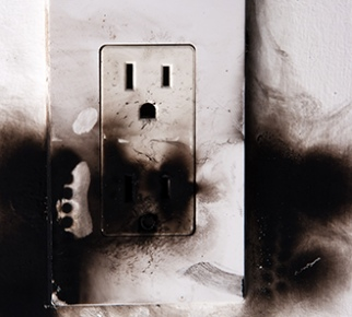 Burnt electrical outlet